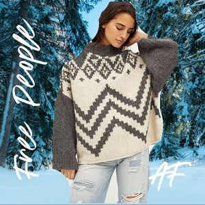 FREE PEOPLE NORDIC OVERSIZED COWL NECK SWEATER